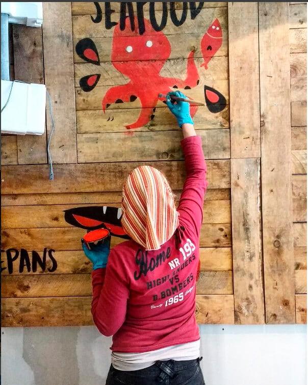 Pintura Mural y Rotulación para Bar