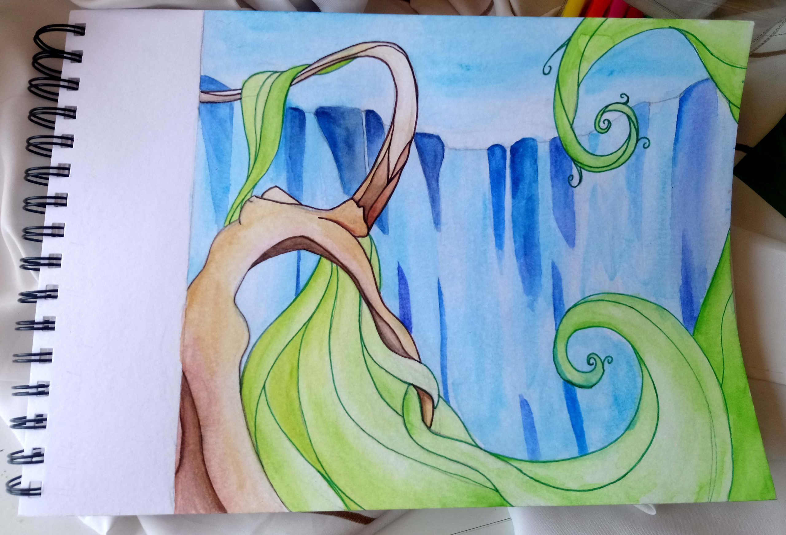 Pintura Mural para Centro de Terapias Naturales - Cascada